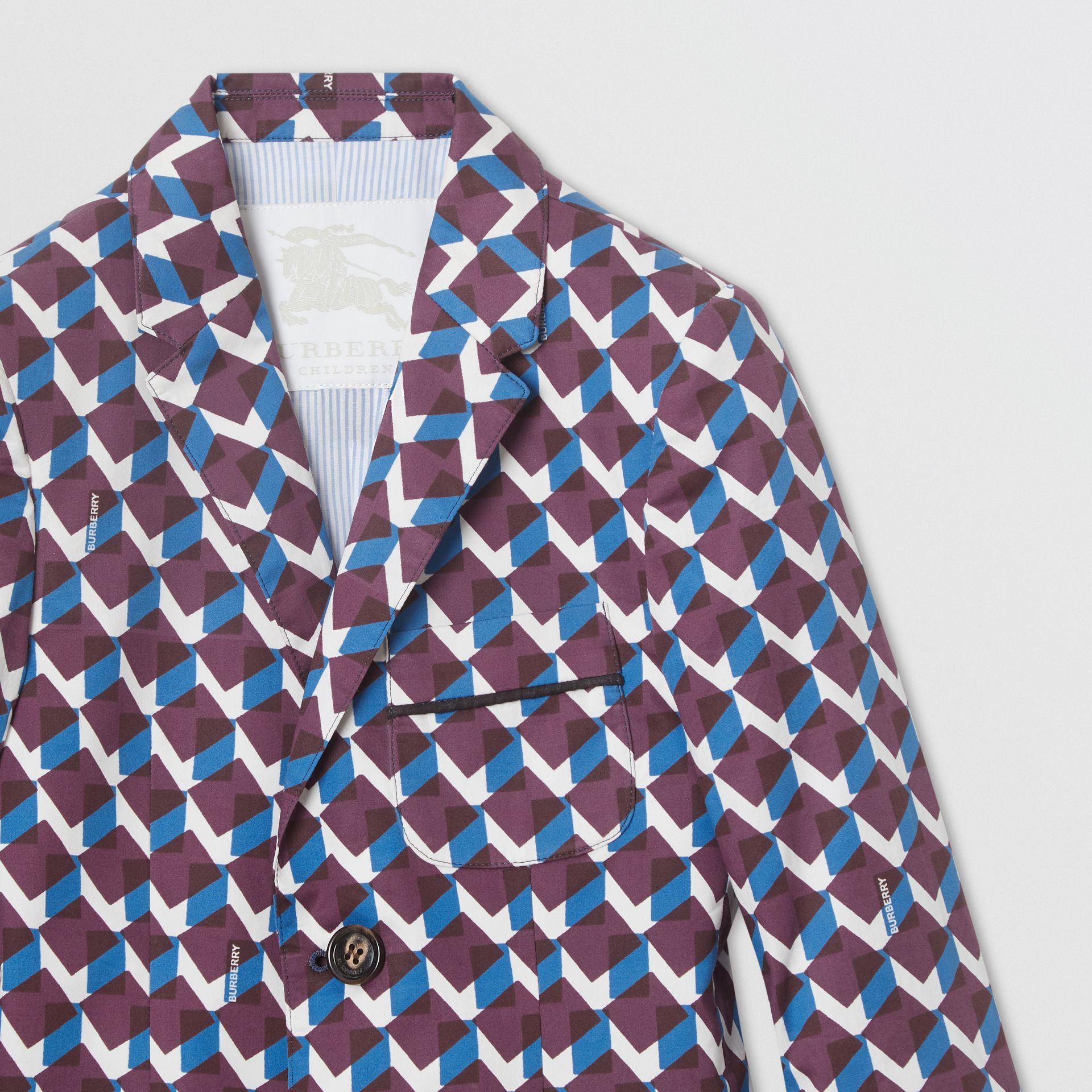 Geometric Print Cotton Blazer in Mineral Blue | Burberry Singapore - gallery image 5