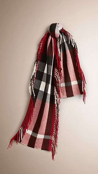 The Fringe Scarf in Check Wool Cashmere