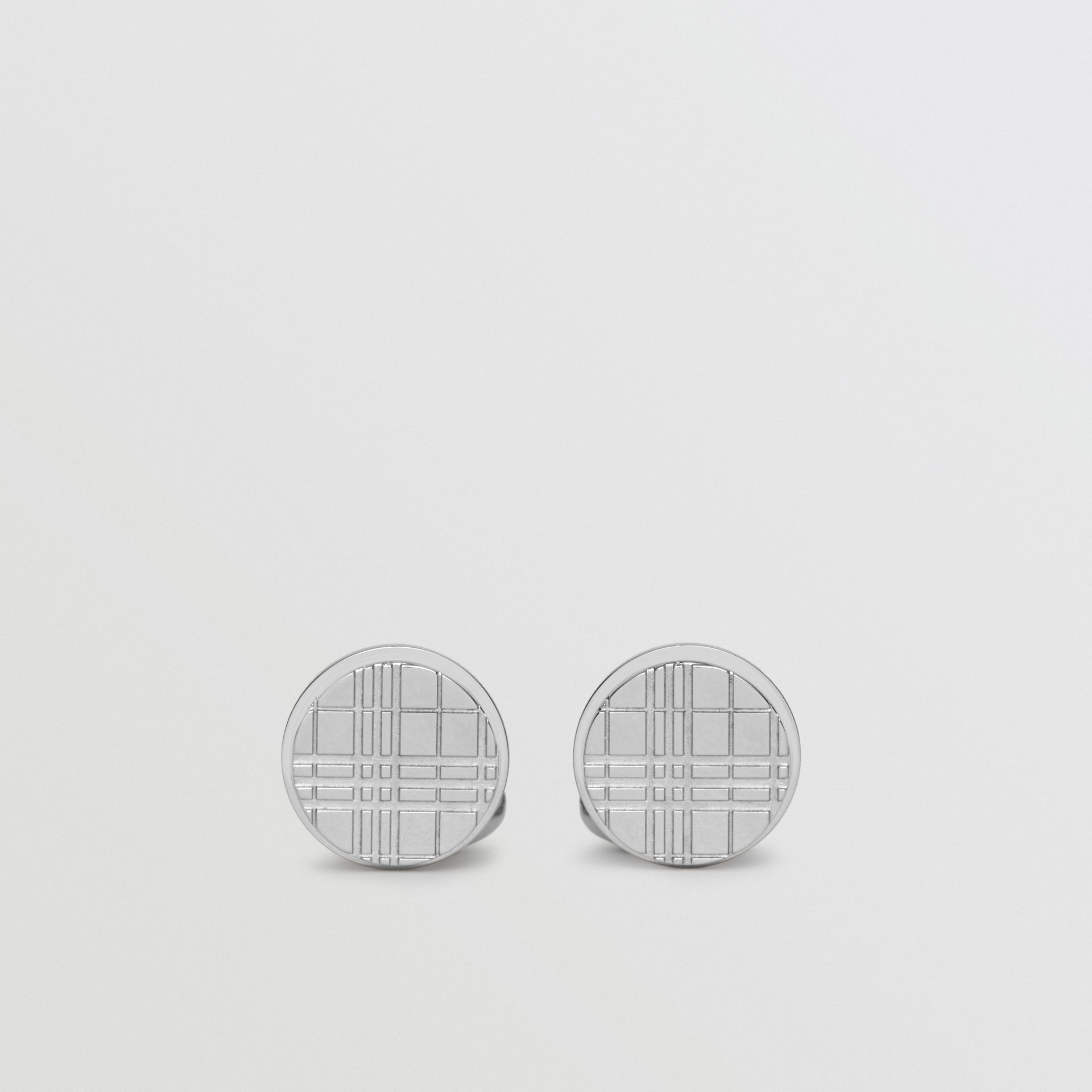 Check-engraved Round Cufflinks in Silver - Men | Burberry - gallery image 0