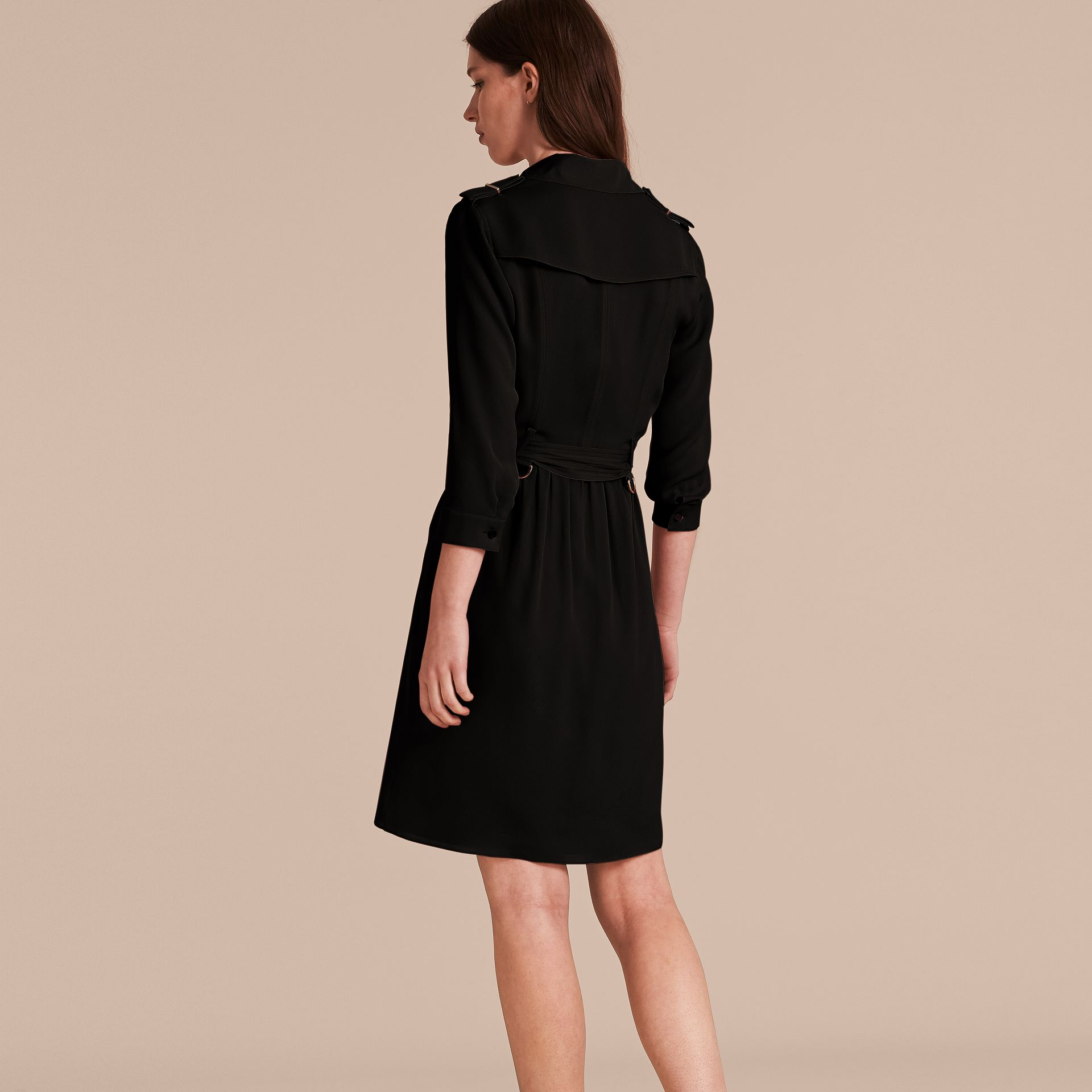 Silk Trench Dress in Black - Women | Burberry - gallery image 3