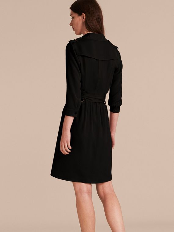 Silk Trench Dress in Black - Women | Burberry Australia - cell image 2