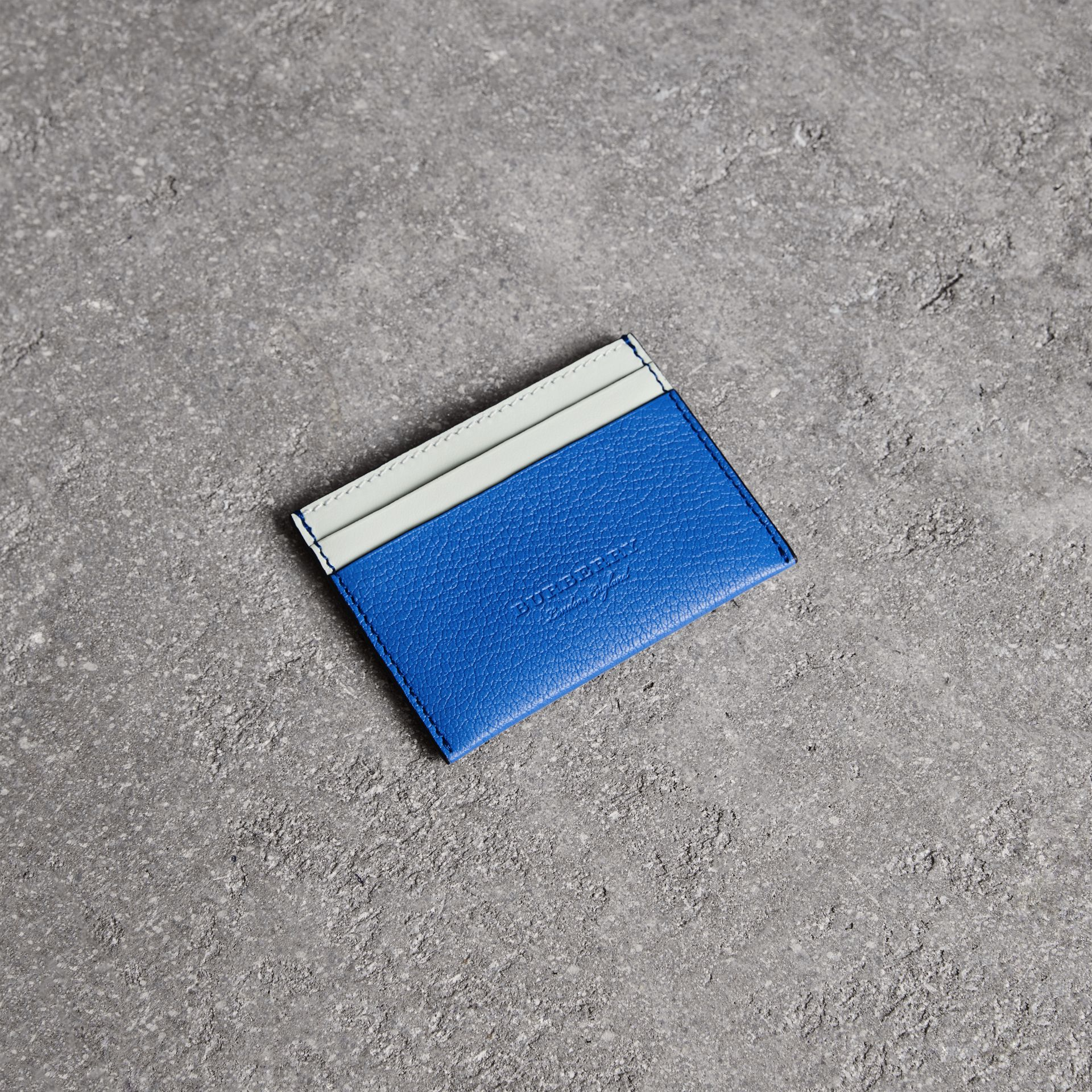 Two-tone Leather Card Case in Hydrangea Blue | Burberry - gallery image 0
