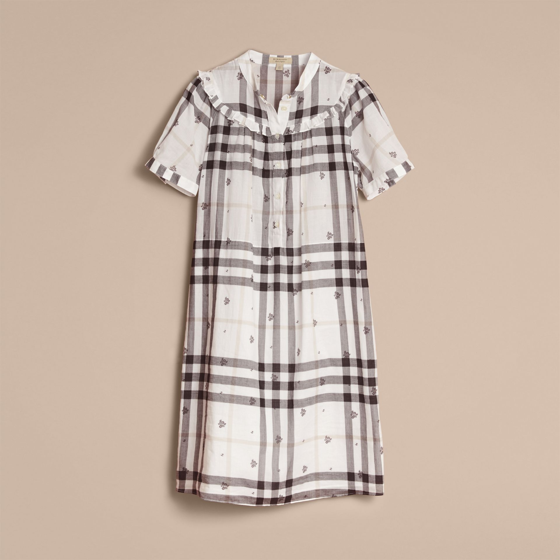 Ruffle Detail Floral Print Check Cotton Dress in White - Women | Burberry Singapore - gallery image 4
