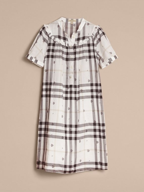 Ruffle Detail Floral Print Check Cotton Dress in White - Women | Burberry Singapore - cell image 3
