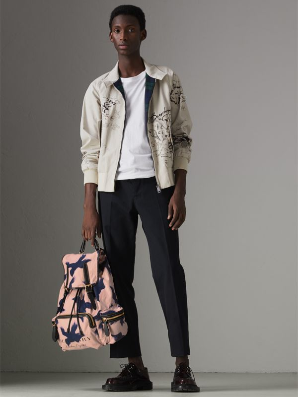 The Large Rucksack in Bird Print Canvas and Leather in Multicolour - Men | Burberry - cell image 2
