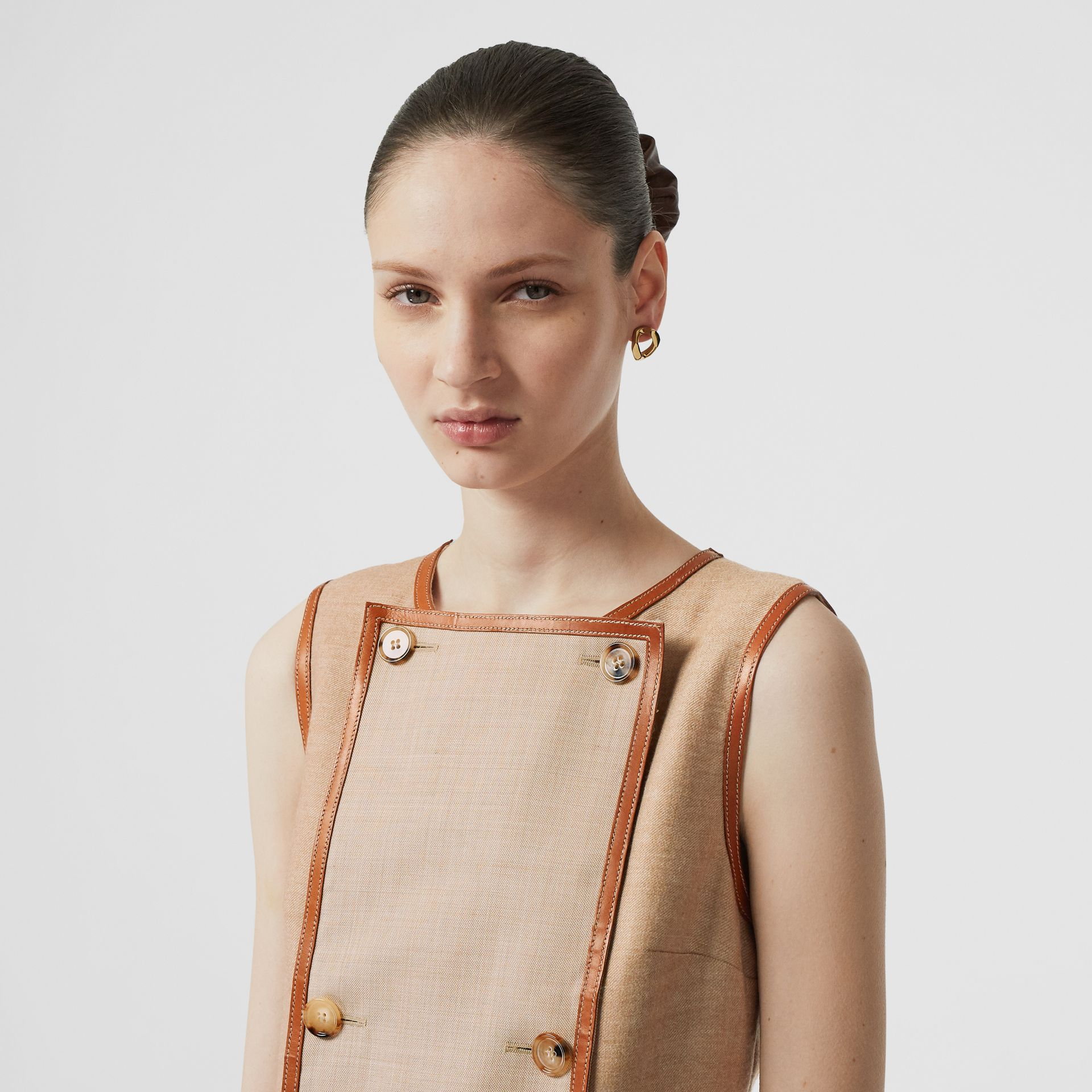 Button Panel Detail Wool Blend Shift Dress in Biscuit - Women | Burberry - gallery image 6