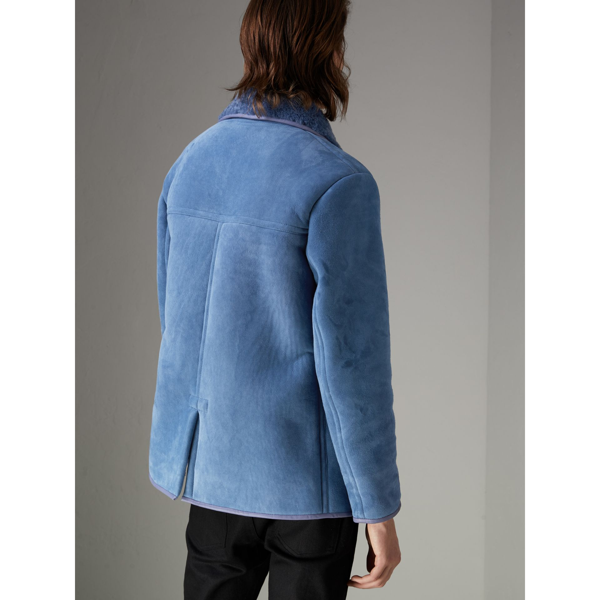 Leather Trim Shearling Jacket in Grey Blue - Men | Burberry Singapore - gallery image 2