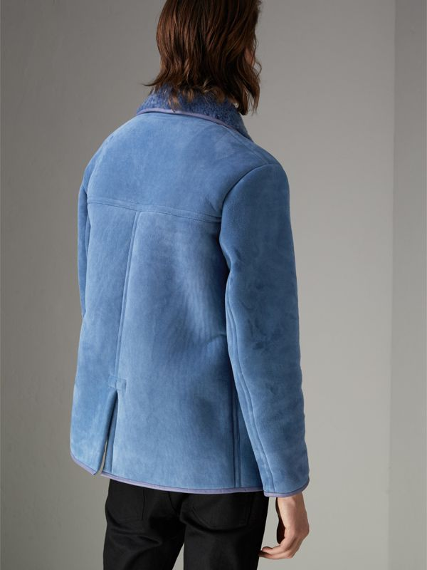 Leather Trim Shearling Jacket in Grey Blue - Men | Burberry - cell image 2