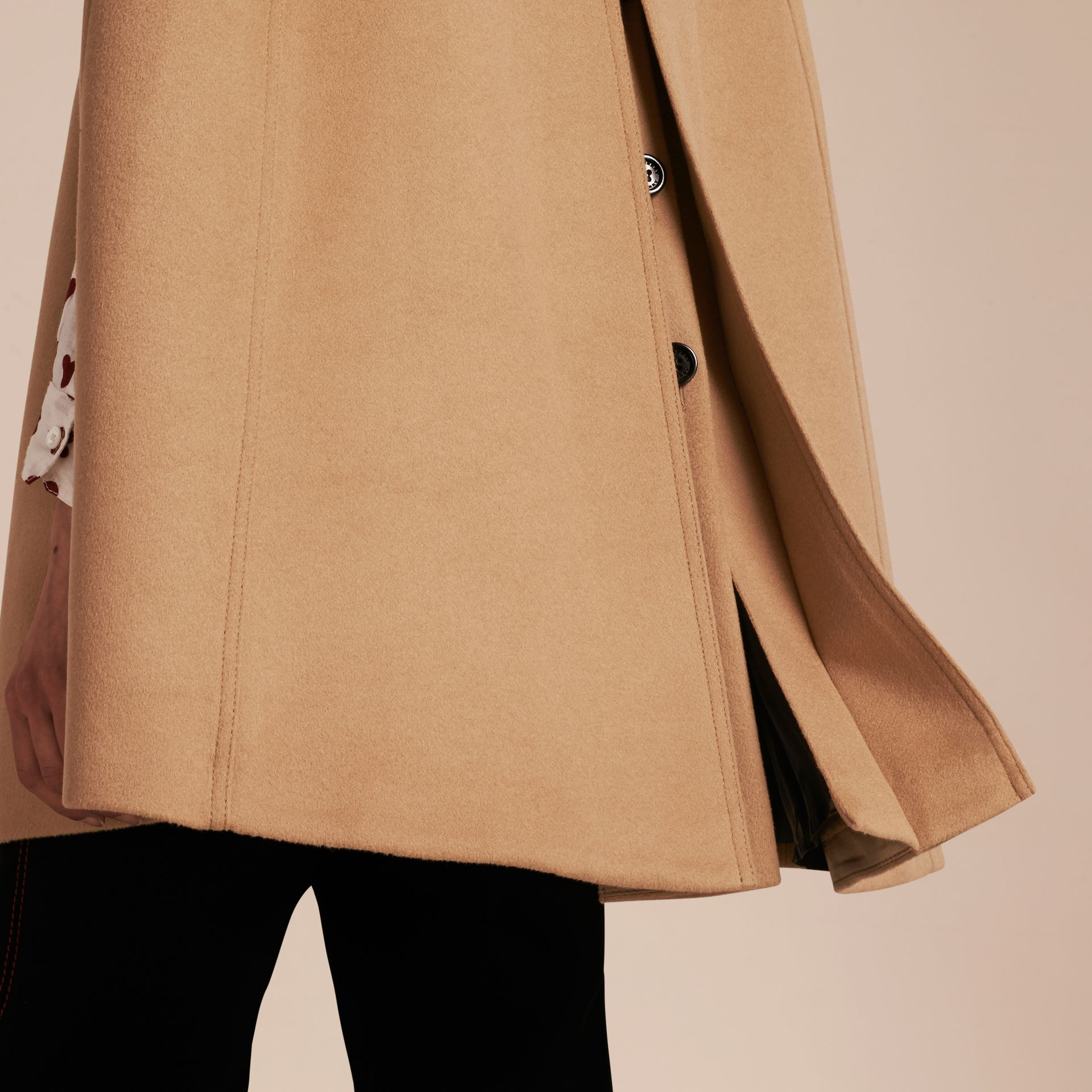 Camel Wool Cashmere Blend Trench Cape - gallery image 6