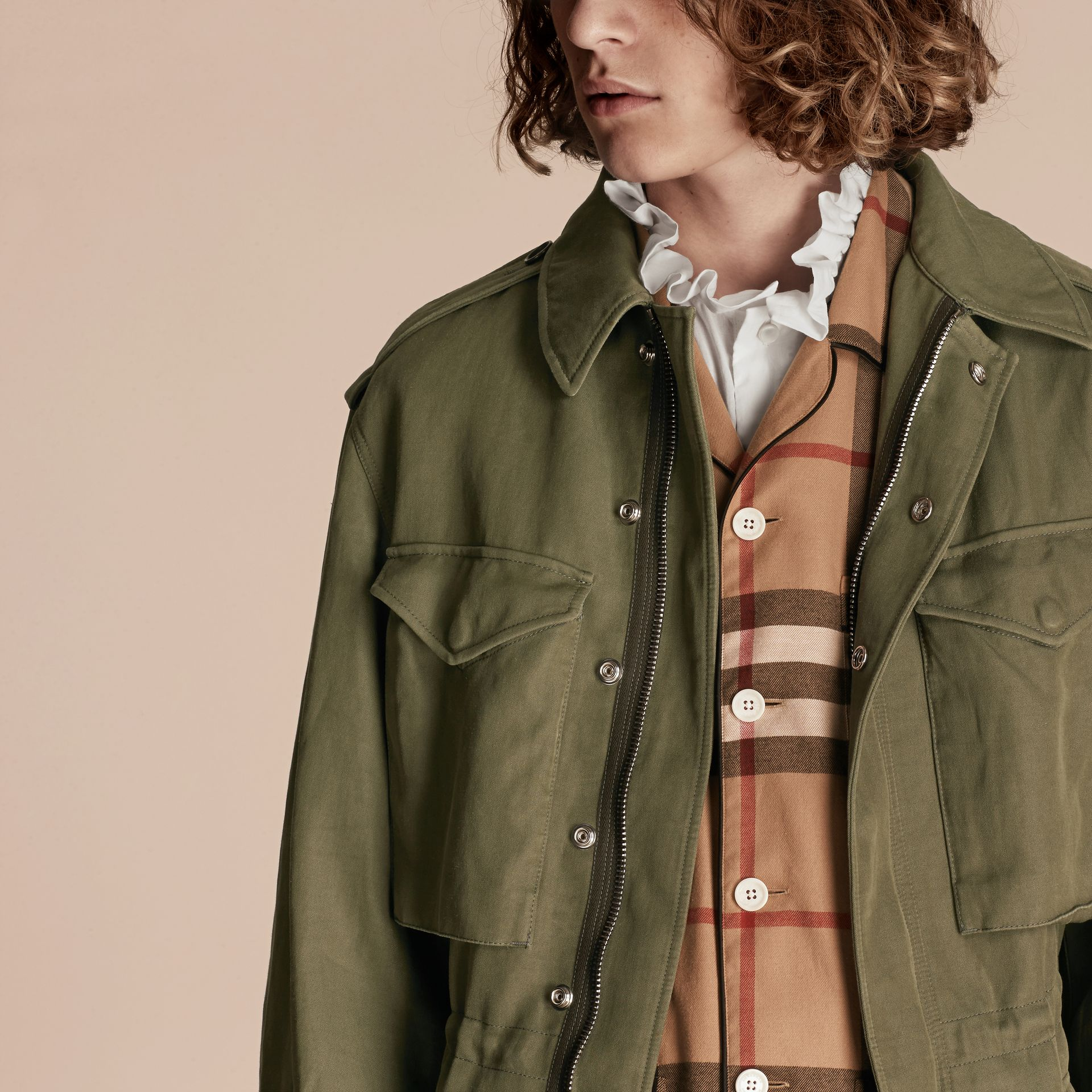 Military green Tumbled Ramie Cotton Twill Field Jacket - gallery image 5