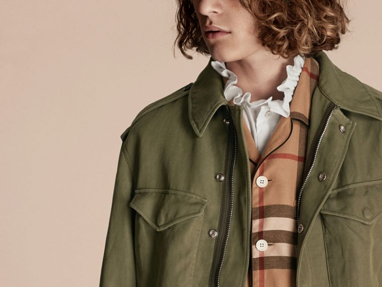 Military green Tumbled Ramie Cotton Twill Field Jacket - cell image 4