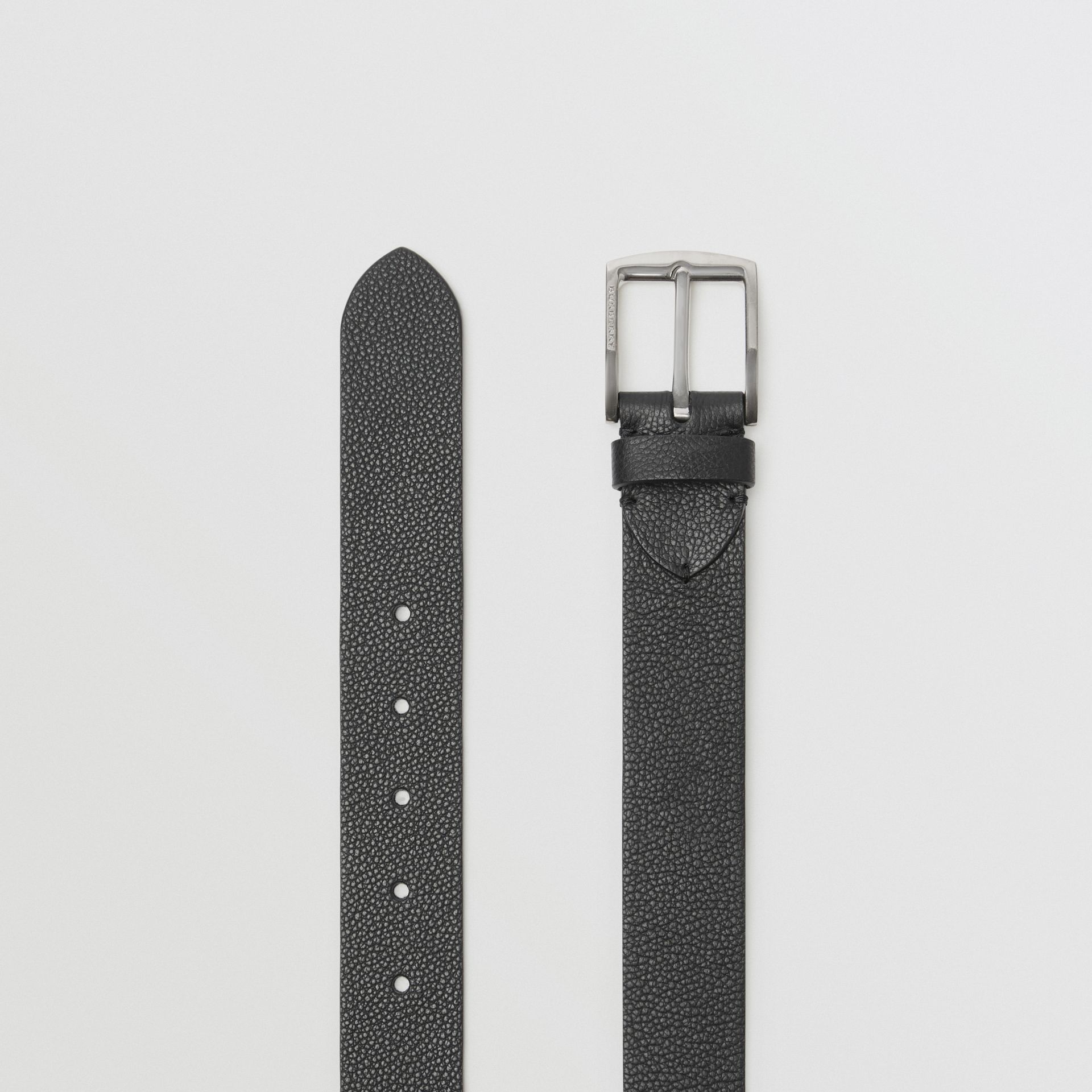 Grainy Leather Belt in Black - Men | Burberry Australia - gallery image 5