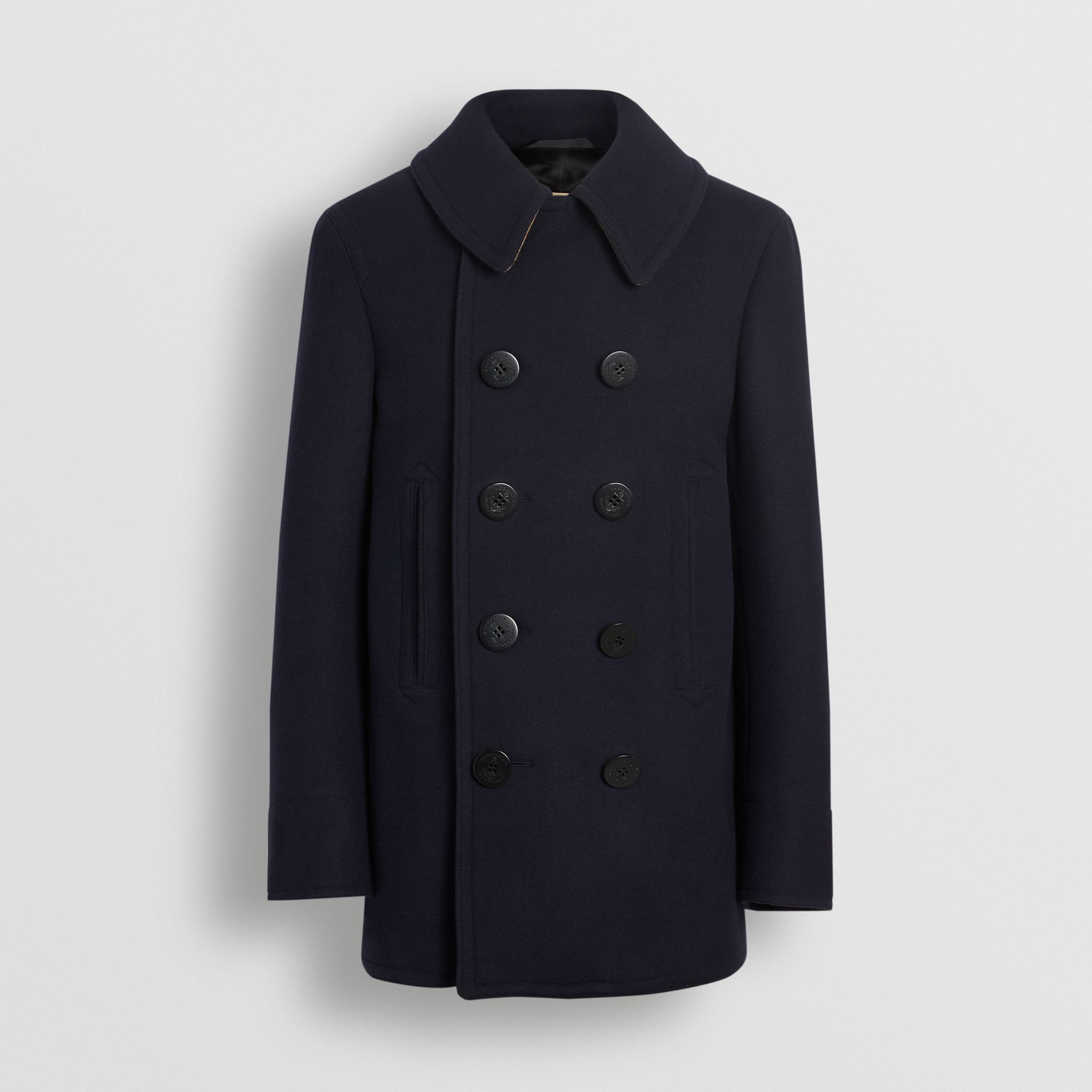 Wool Blend Pea Coat in Navy - Men | Burberry - gallery image 3