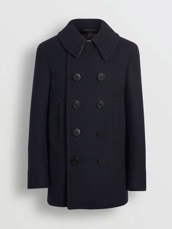 Wool Blend Pea Coat in Navy - Men | Burberry Canada - cell image 3