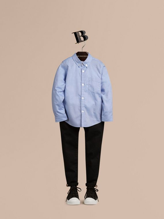 Classic Oxford Shirt in Cornflower Blue - Boy | Burberry Singapore