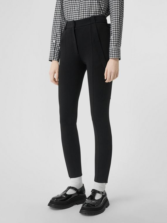 Strap Detail Stretch Crepe Jersey Trousers in Black