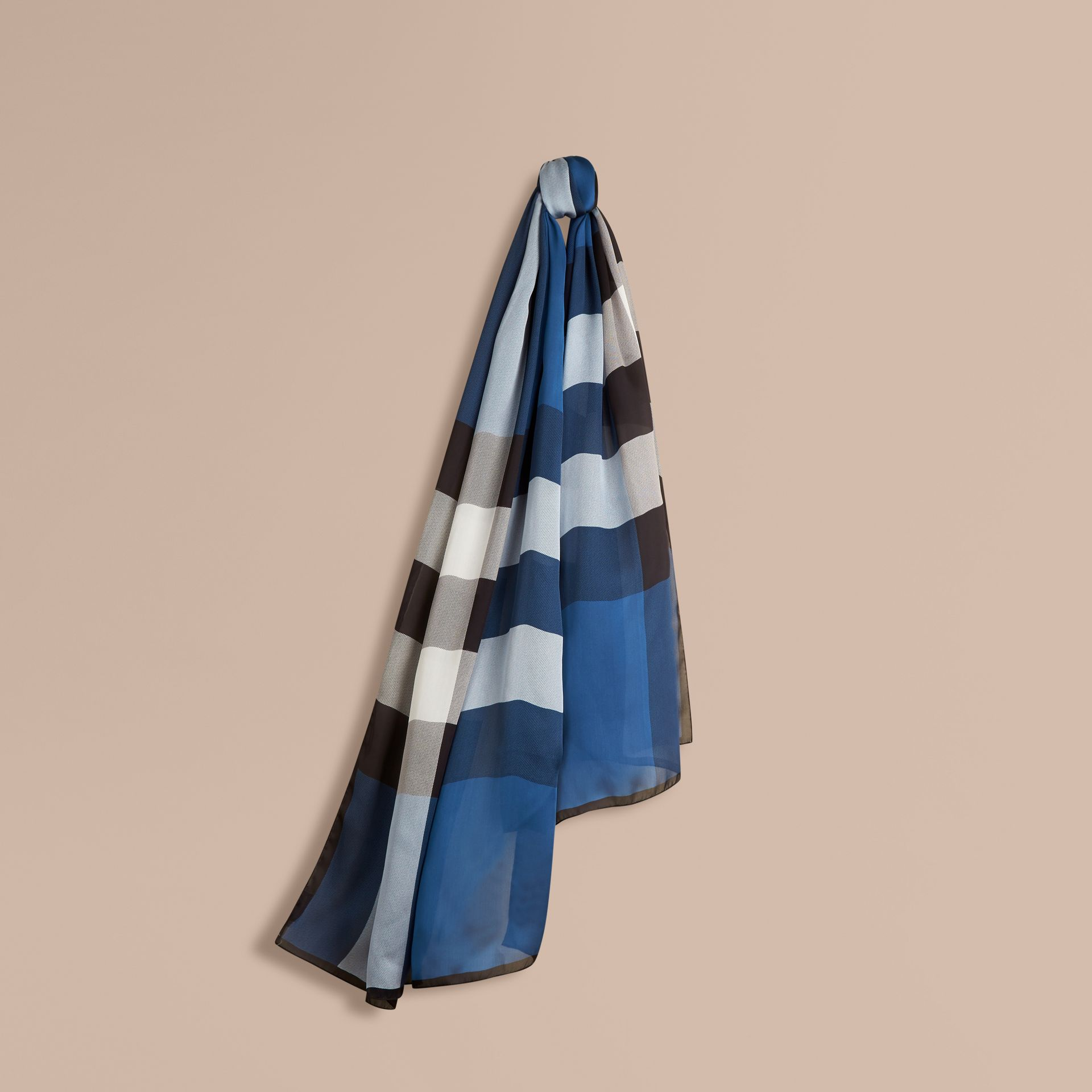 Lightweight Check Silk Scarf Cadet Blue - gallery image 1