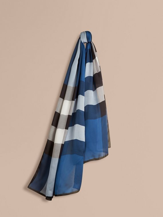 Lightweight Check Silk Scarf Cadet Blue