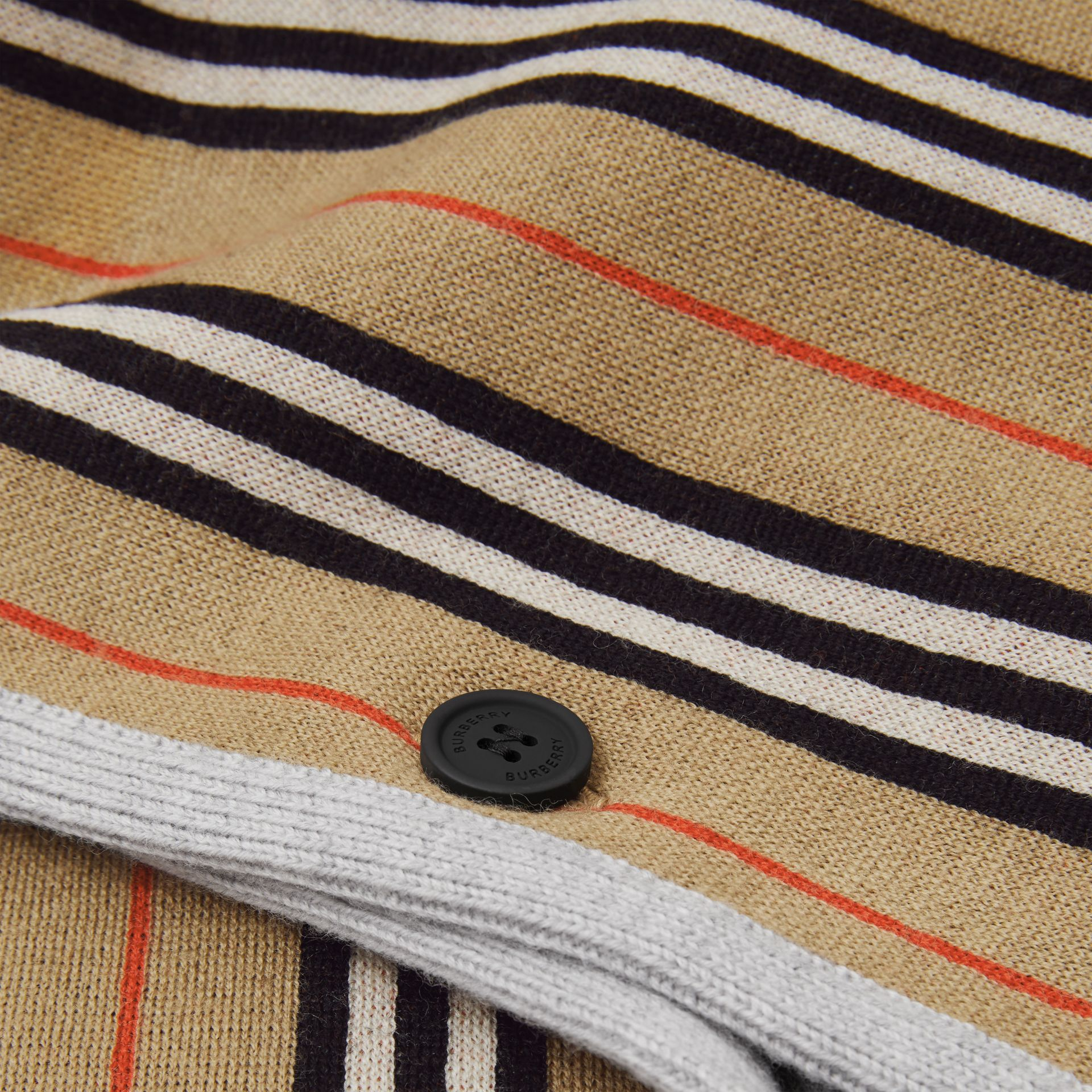 Reversible Icon Stripe Merino Wool Jacquard Poncho in Archive Beige - Children | Burberry - gallery image 1