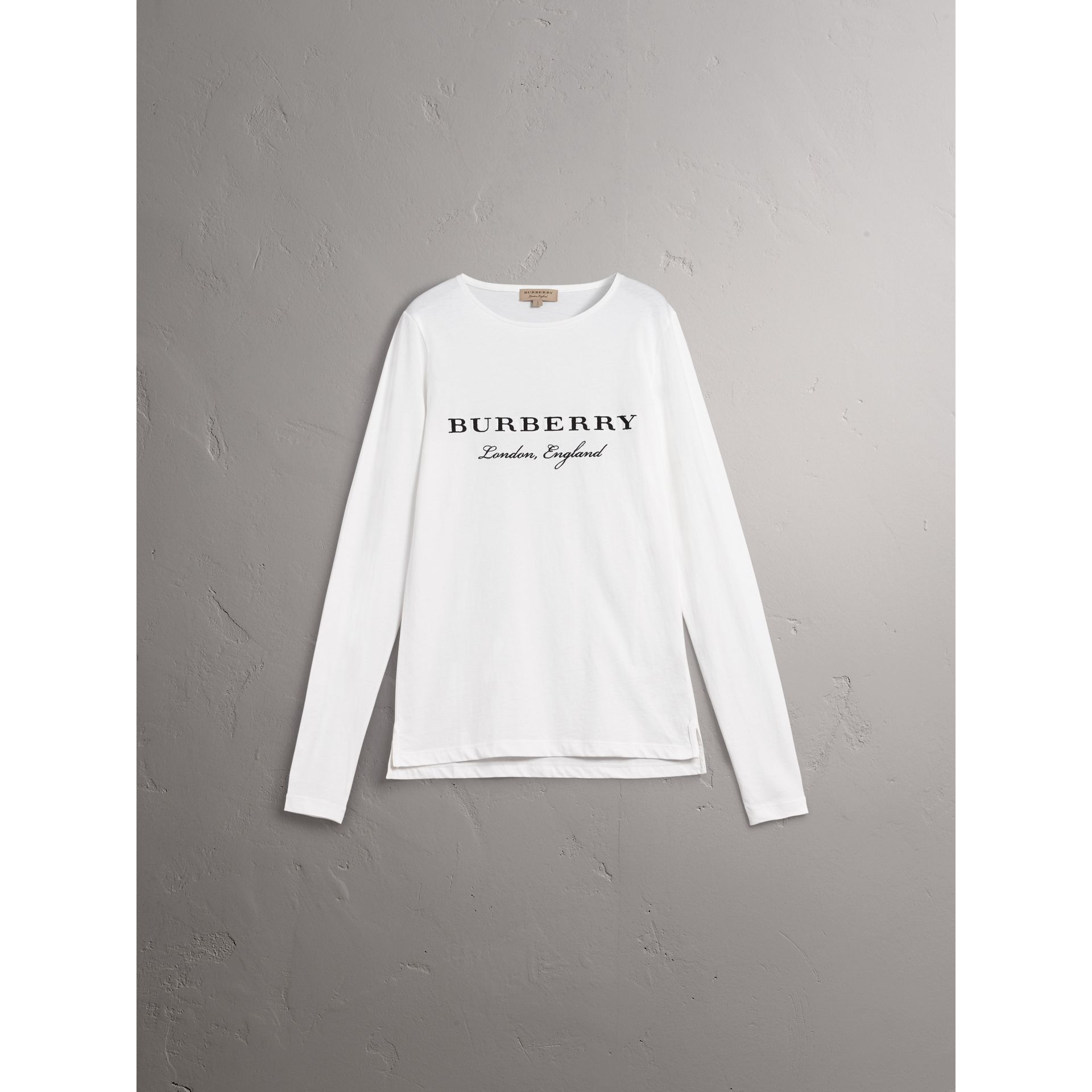 Long-sleeve Embroidered Cotton Top in Off White - Men | Burberry
