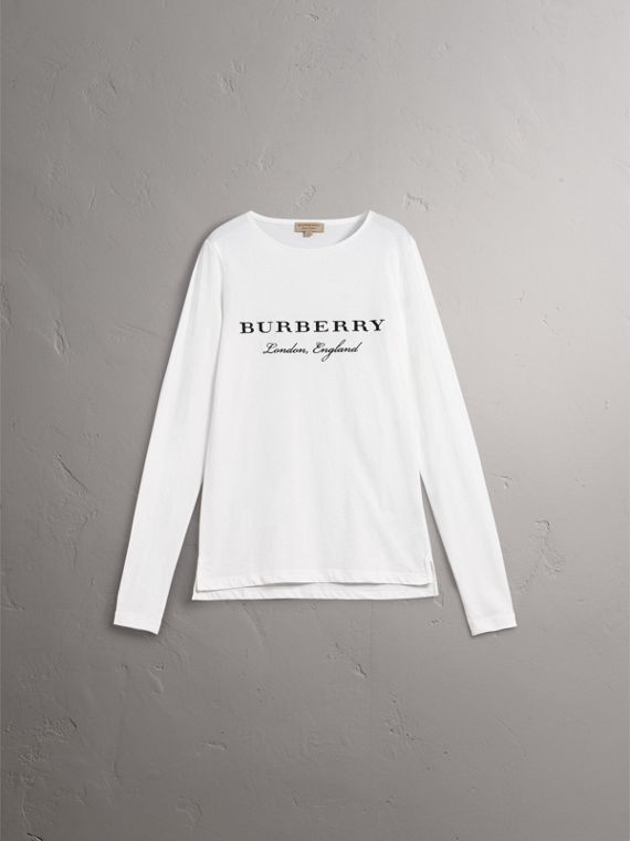 Long-sleeve Embroidered Cotton Top in Off White - Men | Burberry Singapore - cell image 3