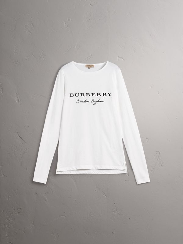 Long-sleeve Embroidered Cotton Top in Off White - Men | Burberry United Kingdom - cell image 3