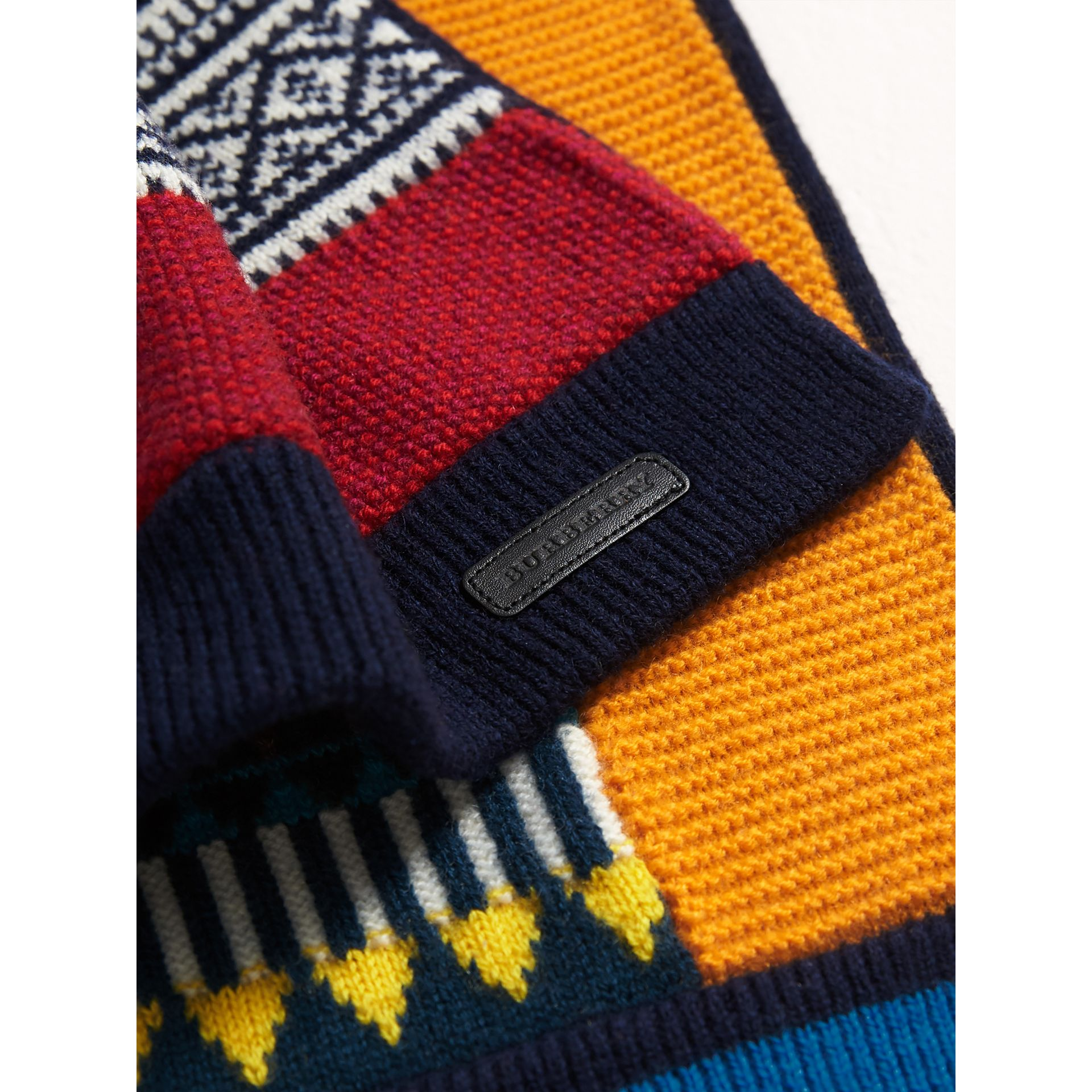 Fair Isle Wool Cashmere Mini Scarf in Brilliant Blue | Burberry - gallery image 2