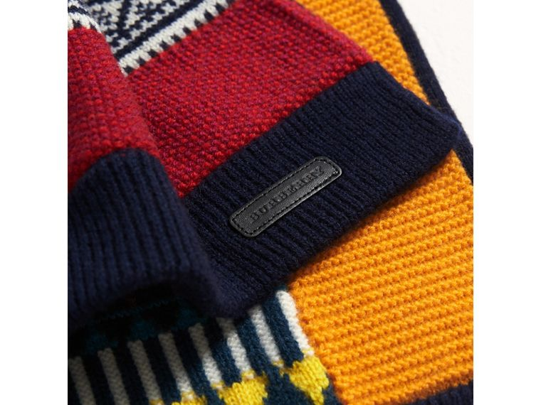 Fair Isle Wool Cashmere Mini Scarf in Brilliant Blue | Burberry - cell image 1
