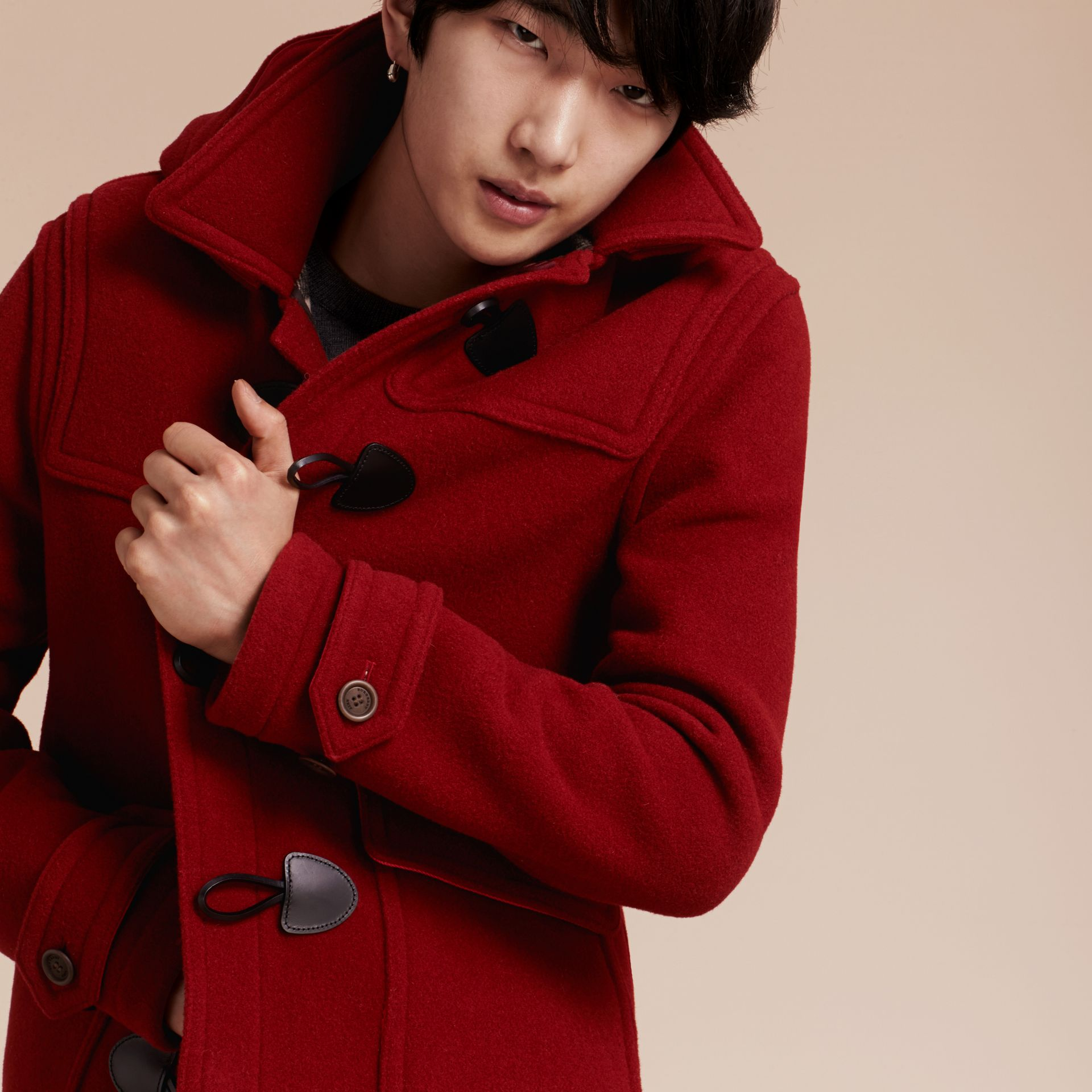 Parade red Wool Detachable Hood Duffle Jacket - gallery image 6