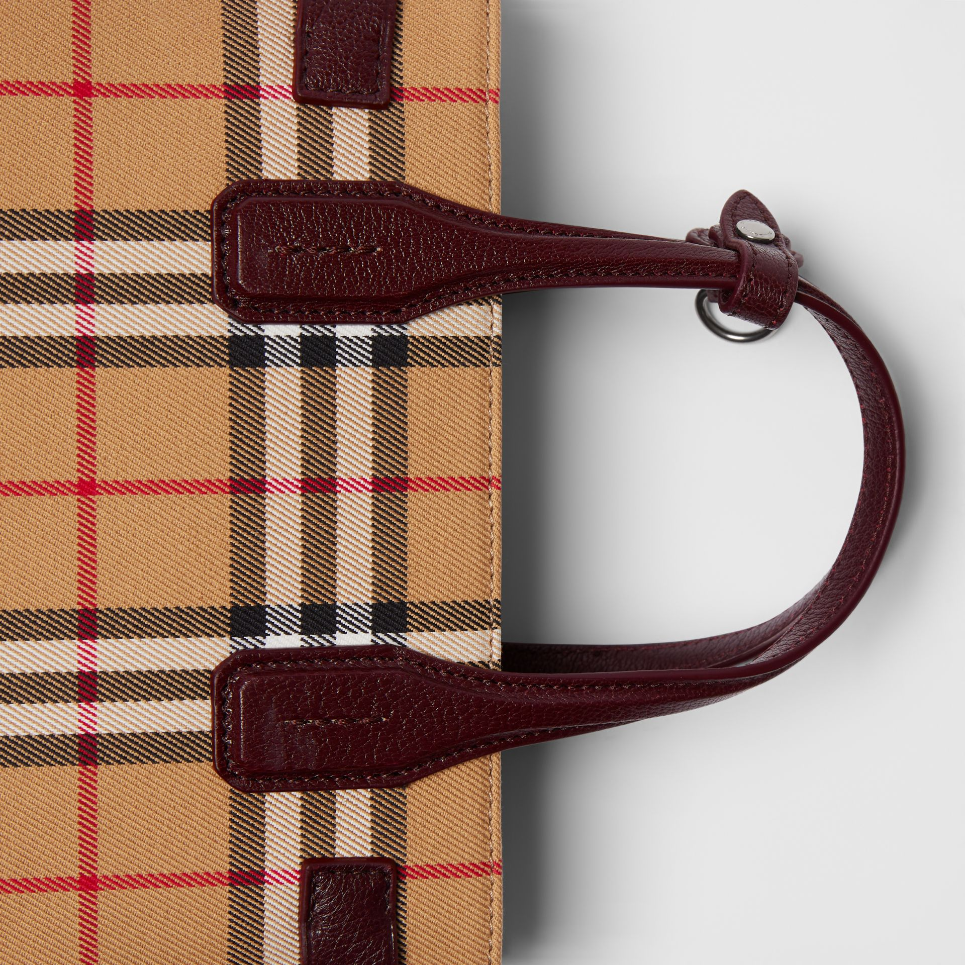 The Small Banner in Vintage Check and Leather in Deep Claret - Women | Burberry - gallery image 1