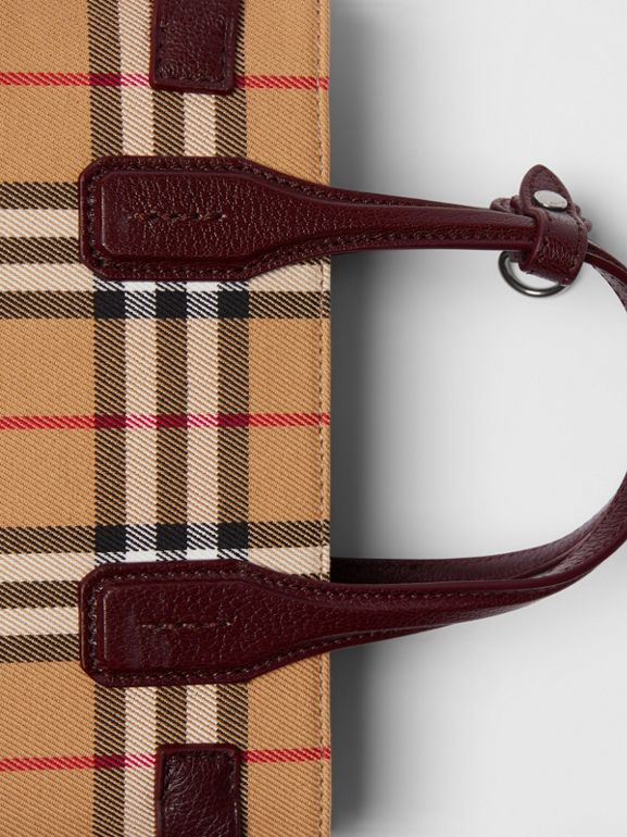 The Small Banner in Vintage Check and Leather in Deep Claret - Women | Burberry - cell image 1