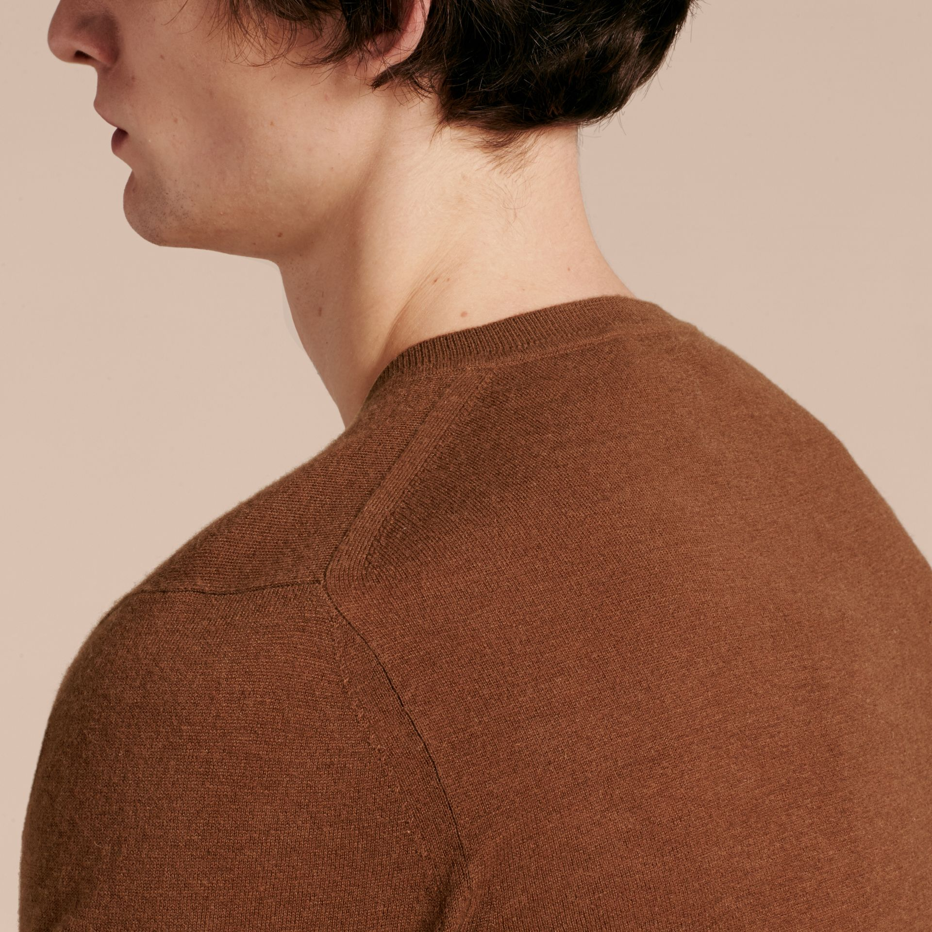 Dark camel Cashmere V-neck Sweater Dark Camel - gallery image 5