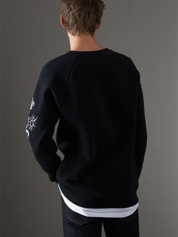 Doodle Print Jersey Sweatshirt in Black - Men | Burberry Singapore - cell image 2