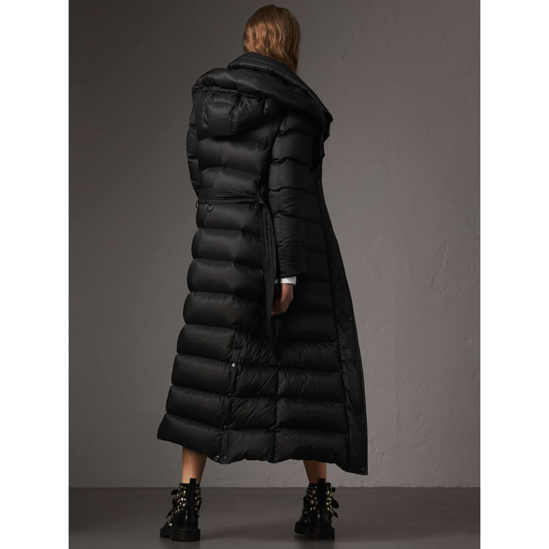 Detachable Hood Long Down-filled Puffer Coat in Black - Women | Burberry - gallery image 3