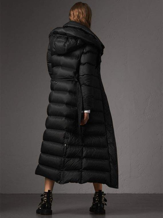 Detachable Hood Long Down-filled Puffer Coat in Black - Women | Burberry Australia - cell image 2