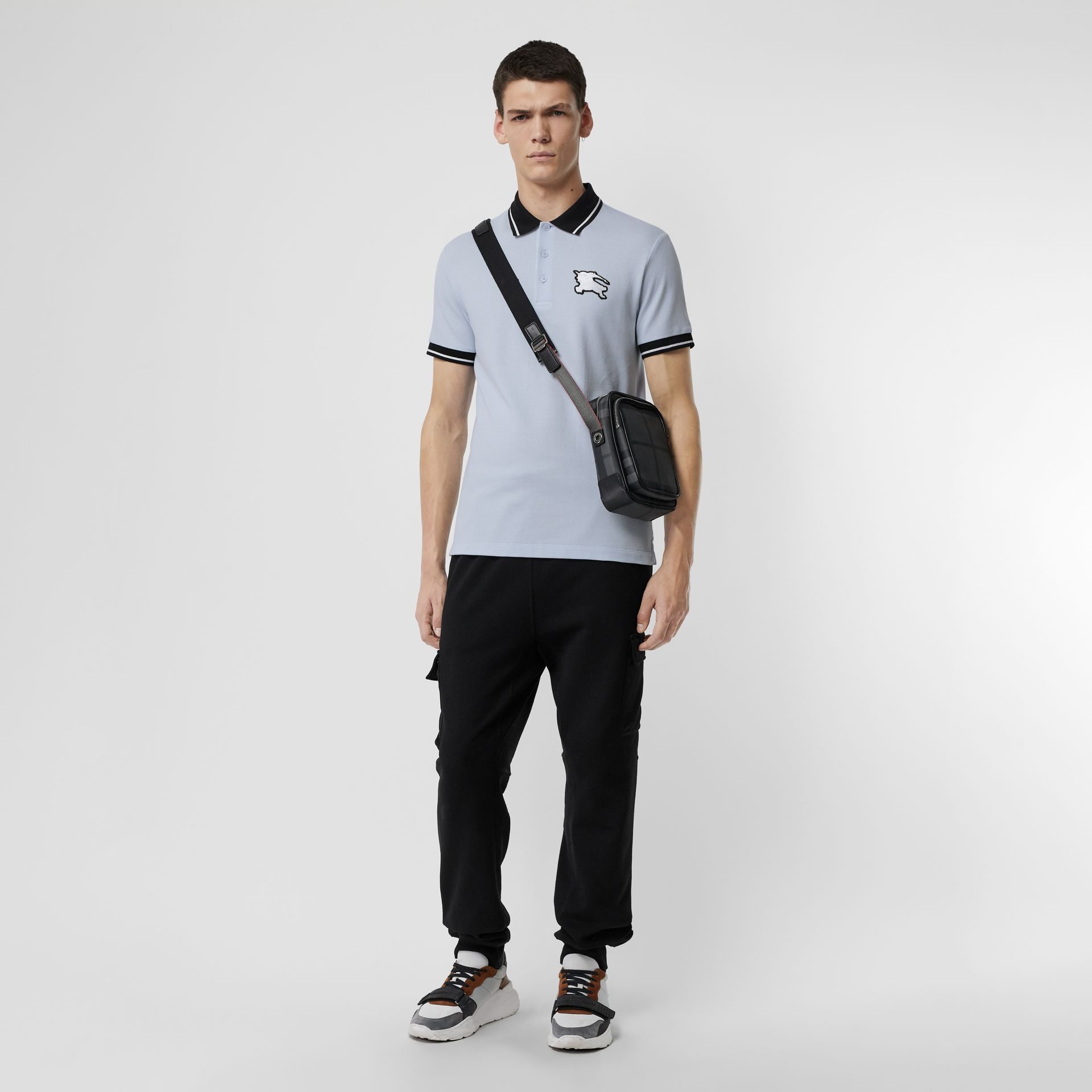 Tipped Cotton Piqué Polo Shirt in Light Indigo - Men | Burberry Canada - gallery image 0