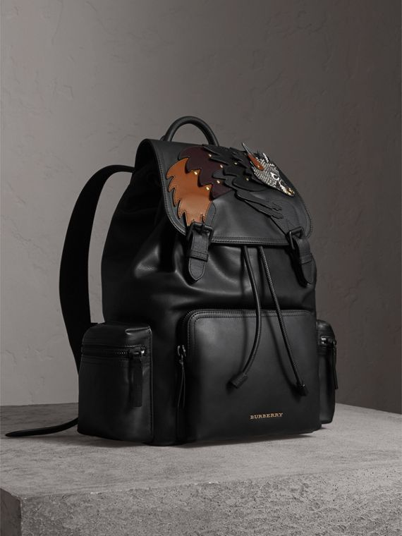 The Large Rucksack in Leather with Beasts Motif in Black