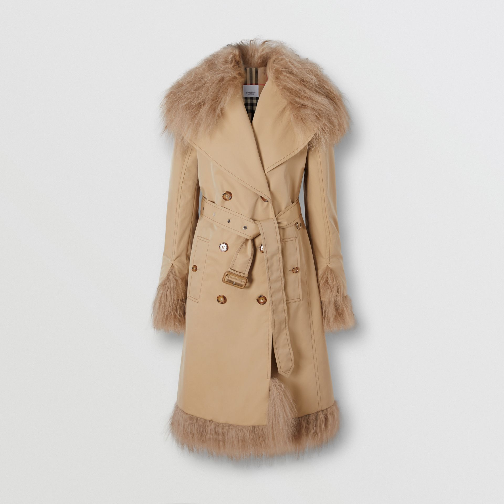 Shearling Trim Cotton Gabardine Belted Trench Coat in Honey - Women | Burberry - gallery image 3