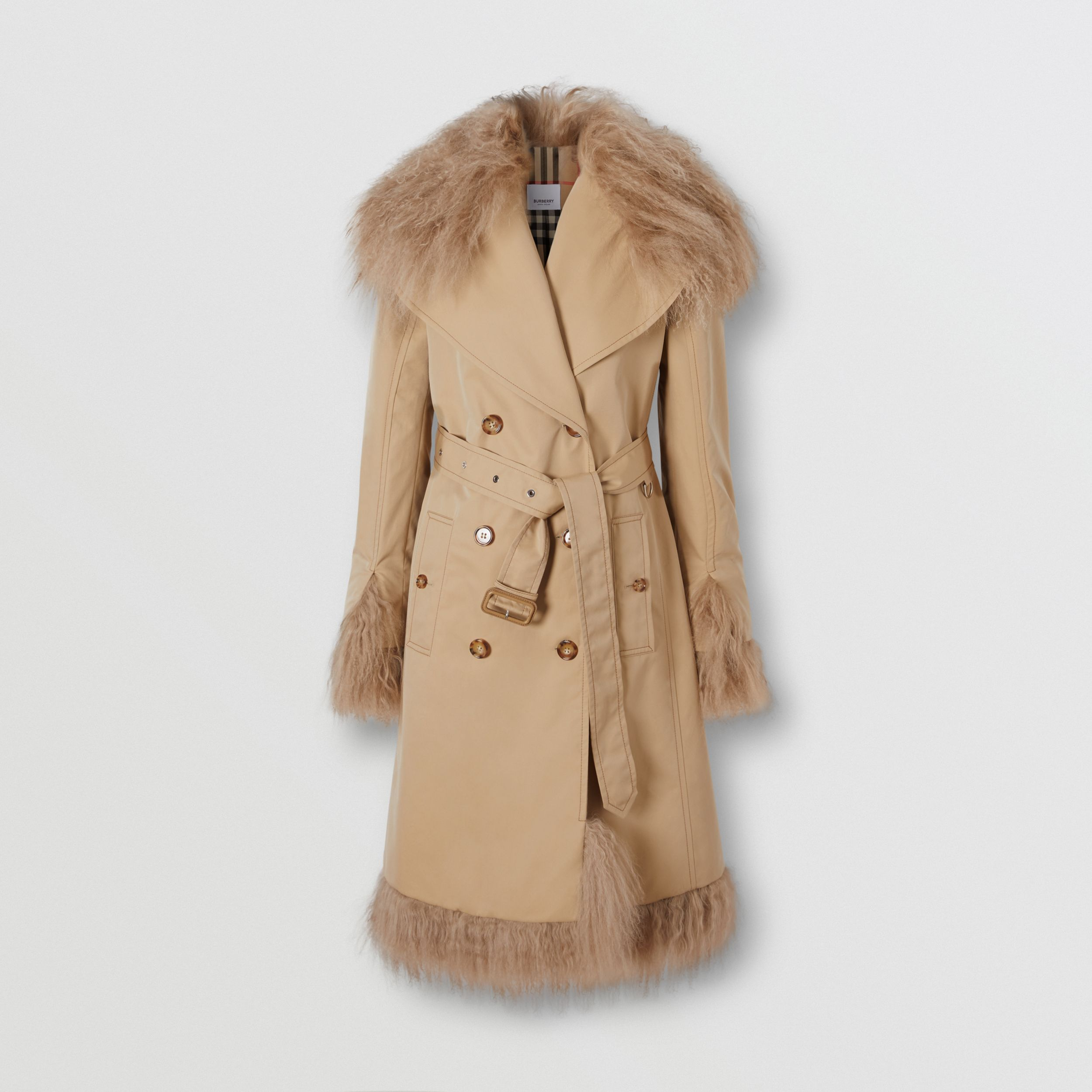 Shearling Trim Cotton Gabardine Belted Trench Coat in Honey - Women | Burberry - 4