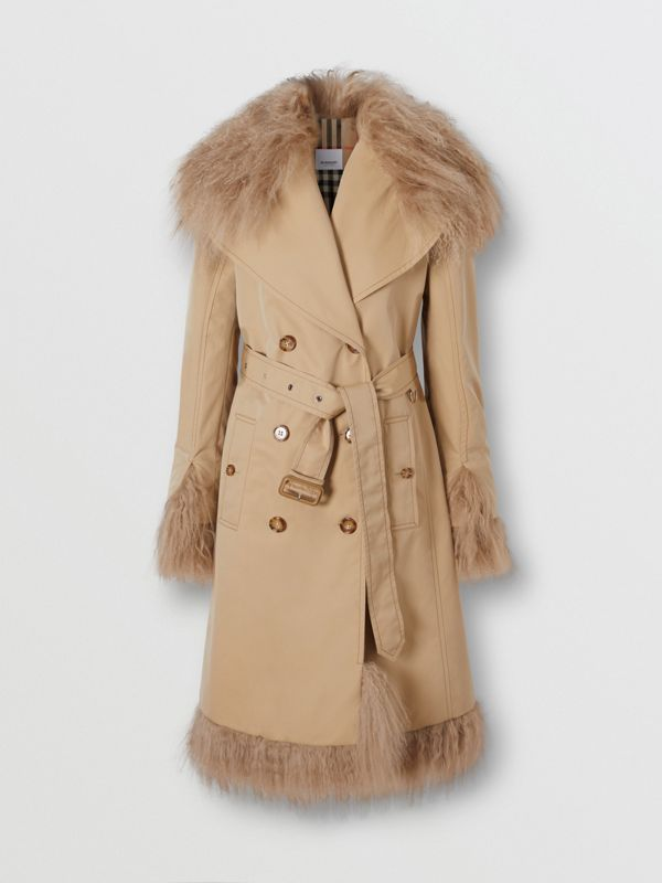 Shearling Trim Cotton Gabardine Belted Trench Coat in Honey - Women | Burberry - cell image 3