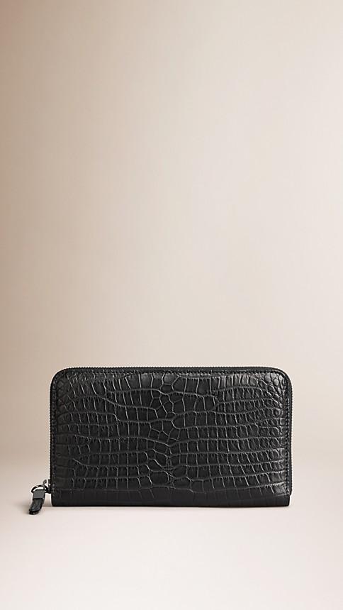 Black Alligator Ziparound Wallet - Image 1