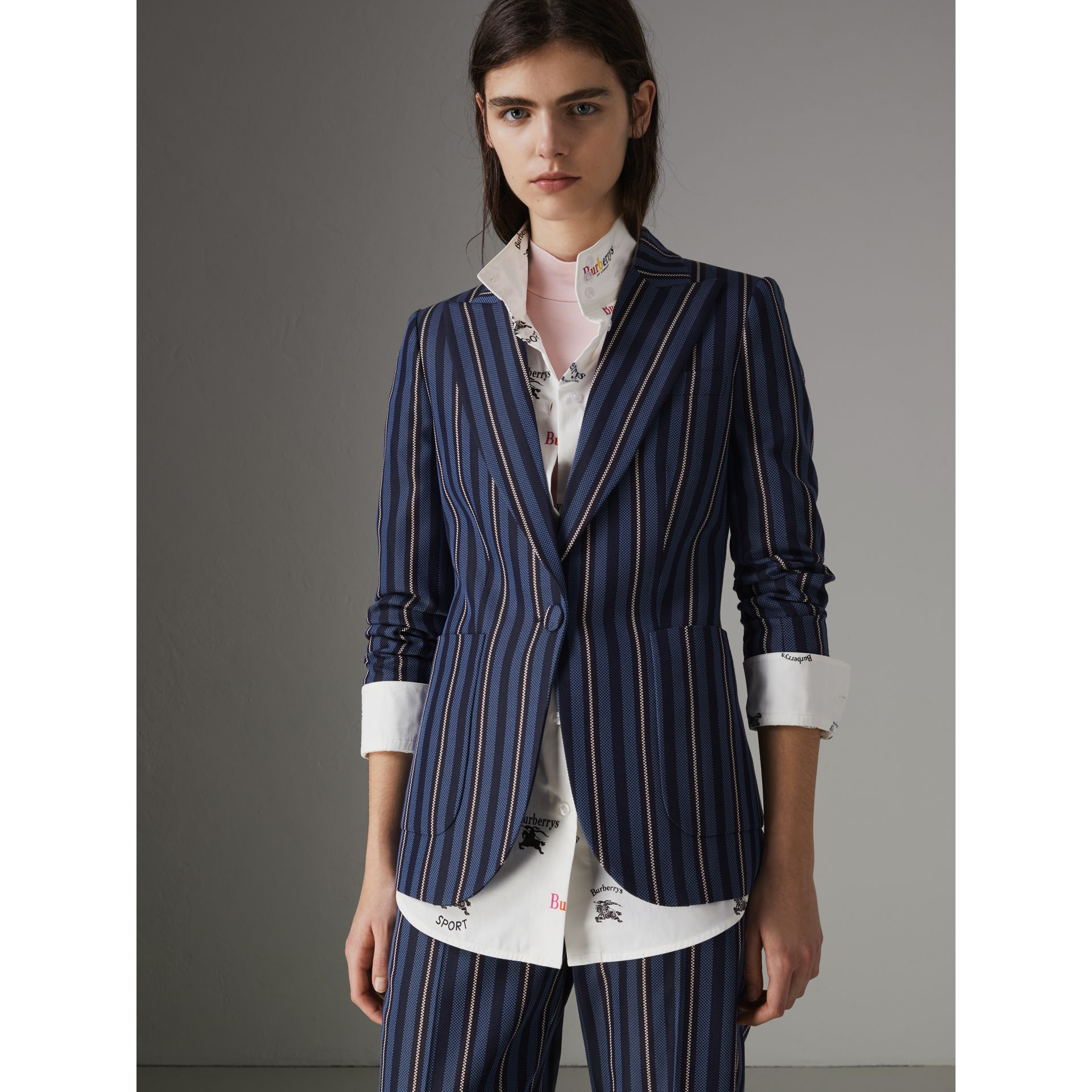 Collegiate Stripe Wool Blend Blazer in Navy/light Blue - Women | Burberry - gallery image 7