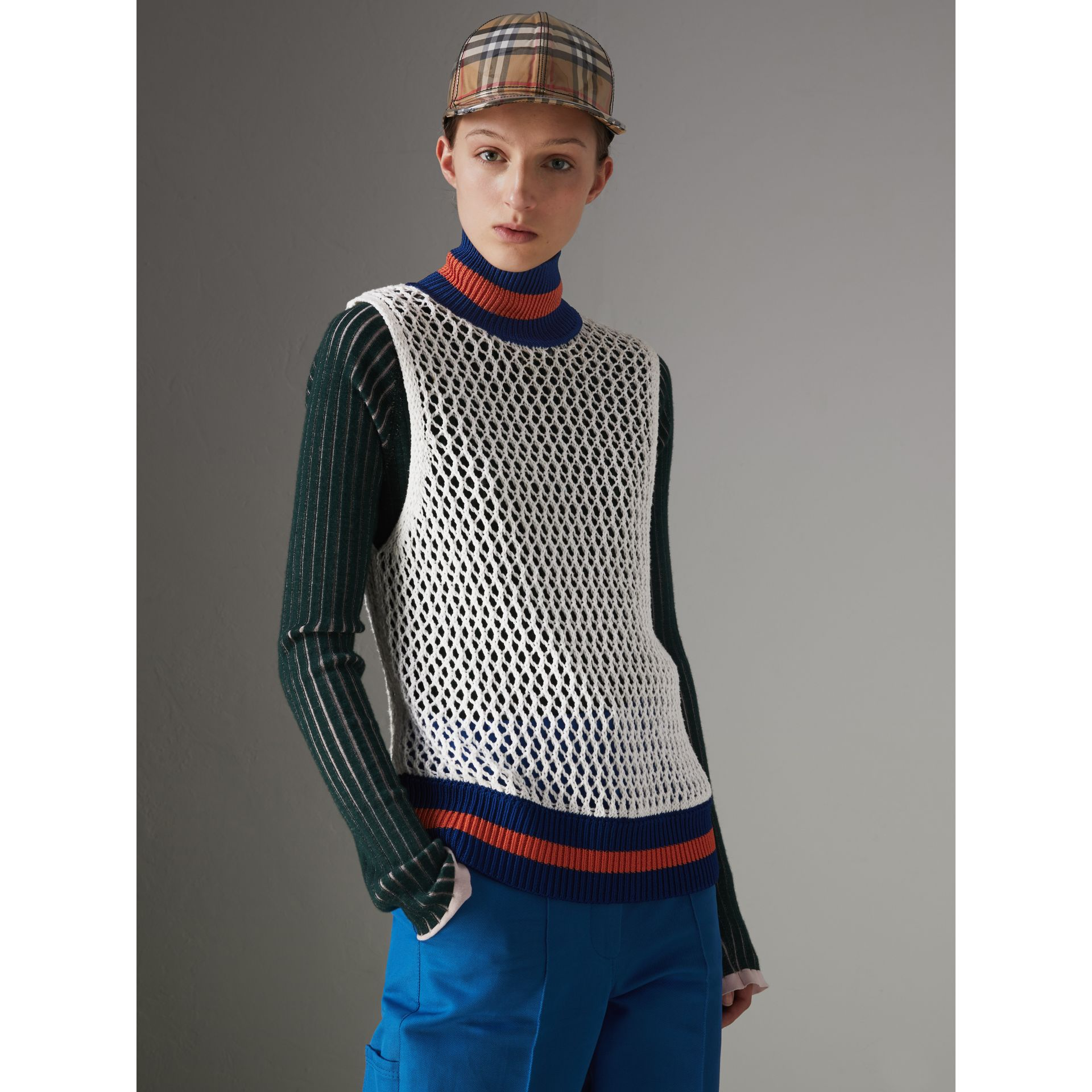Sleeveless Mesh Knit Turtleneck Top in White - Women | Burberry - gallery image 5