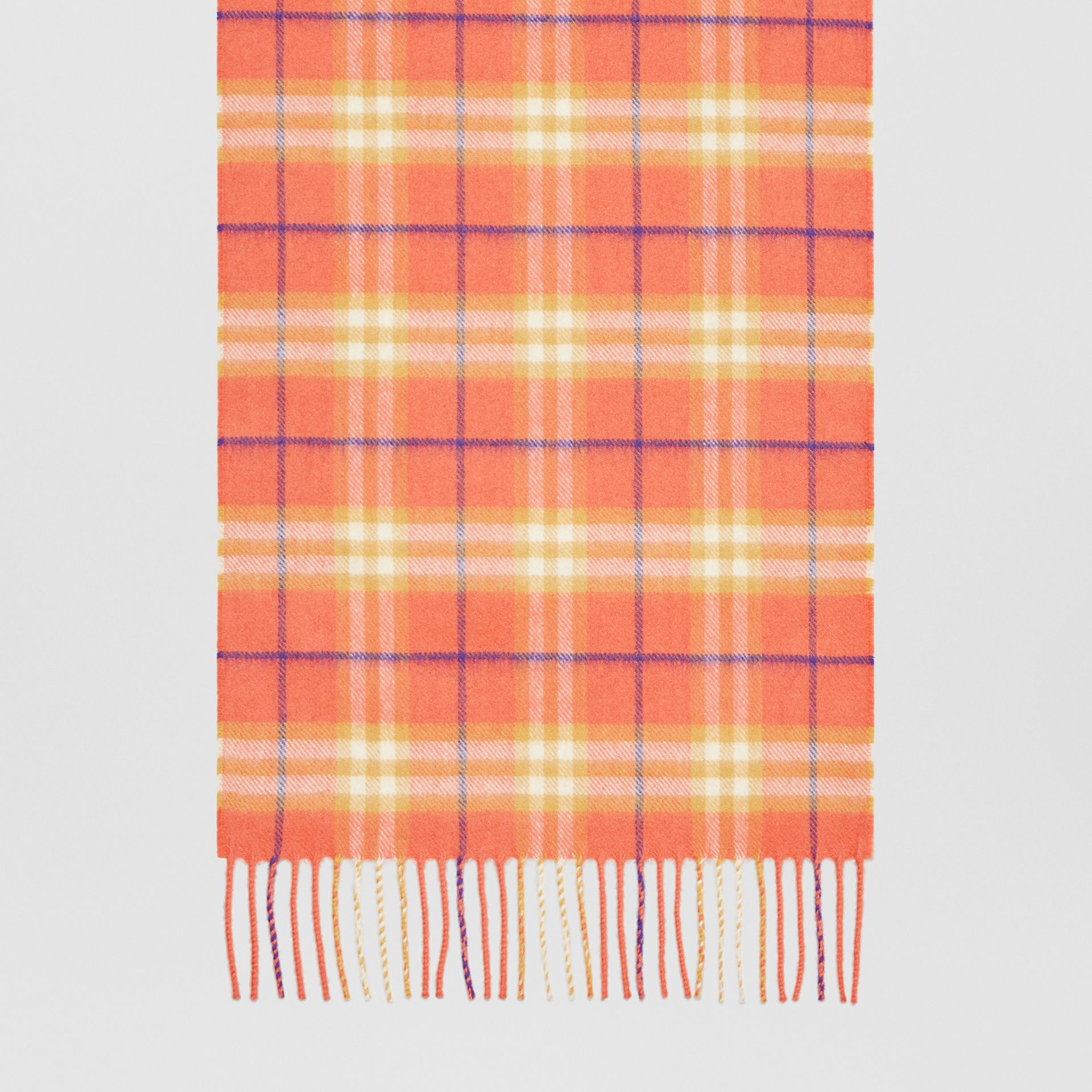 The Classic Vintage Check Cashmere Scarf in Coral | Burberry Singapore - gallery image 4