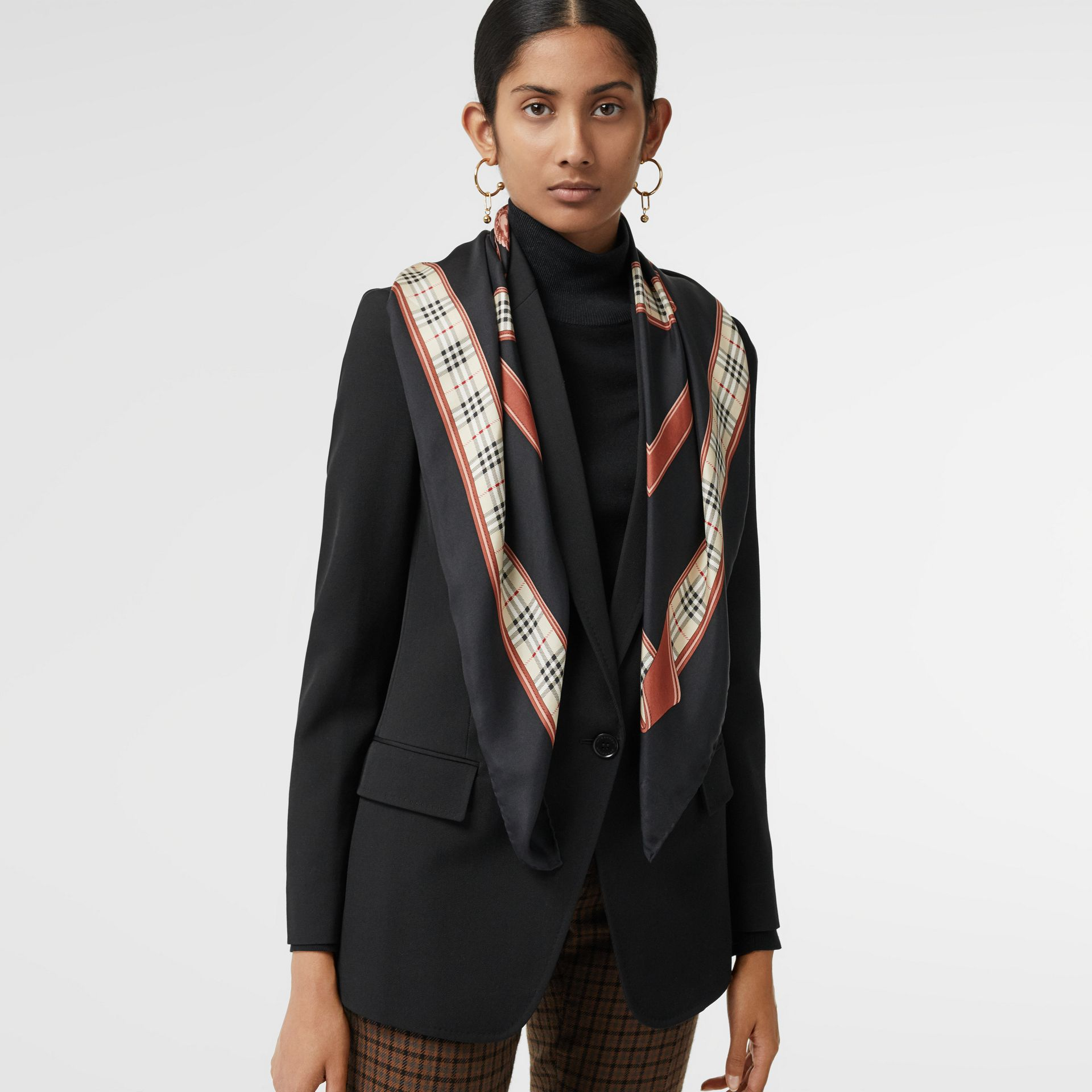 Archive Scarf Print Silk Square Scarf in Black | Burberry Canada - gallery image 4