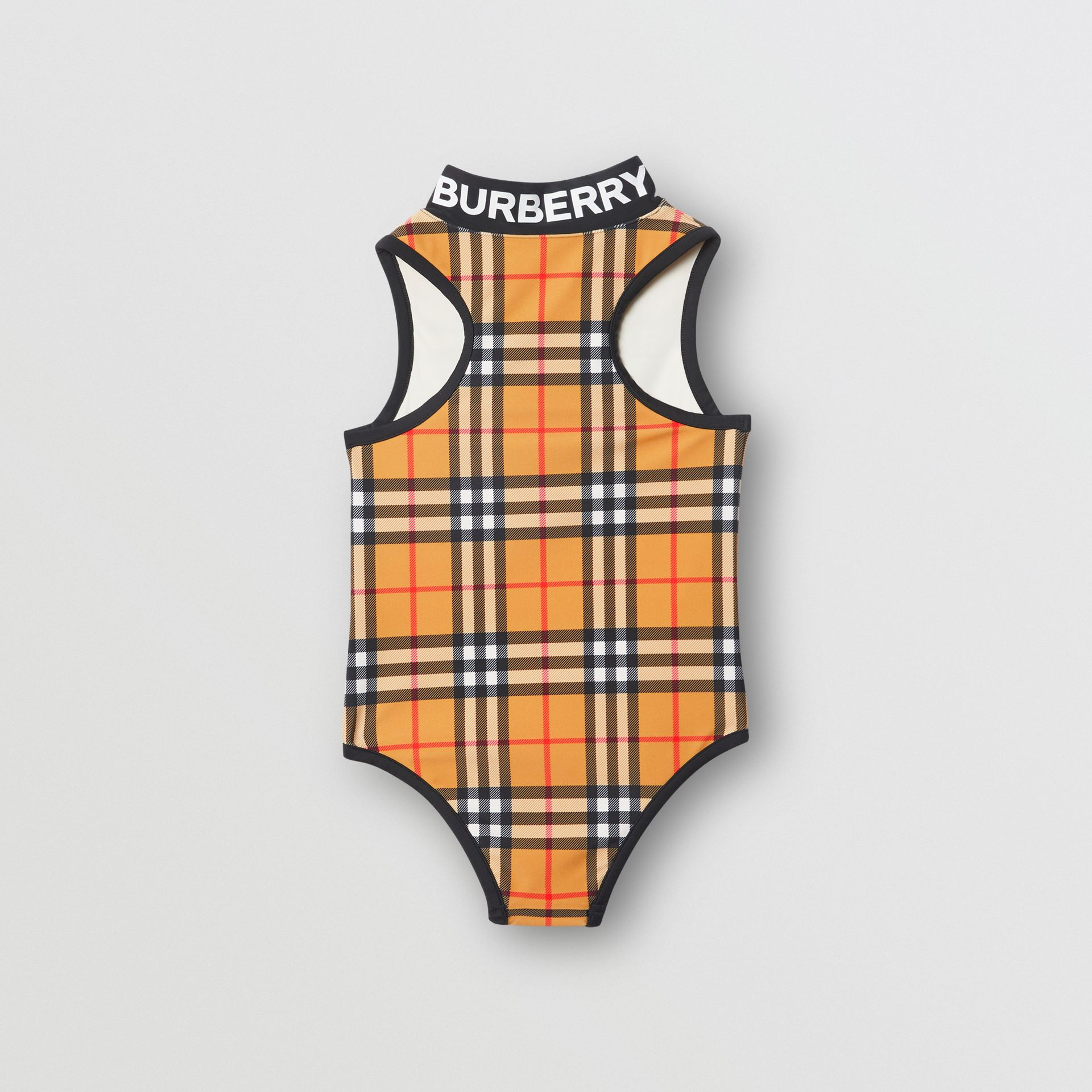 Logo Detail Vintage Check One-piece Swimsuit in Antique Yellow | Burberry - gallery image 3