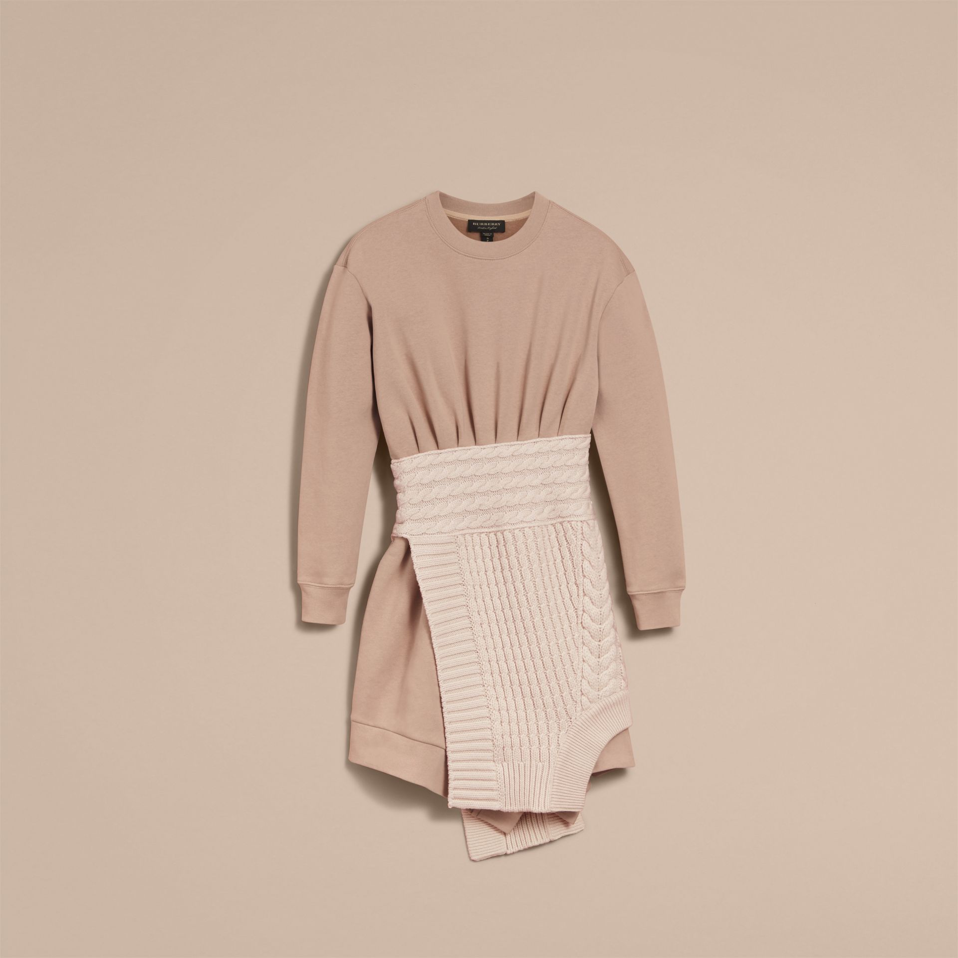 Cashmere Cable Knit Panel Sweatshirt Dress in Natural White - Women | Burberry - gallery image 3