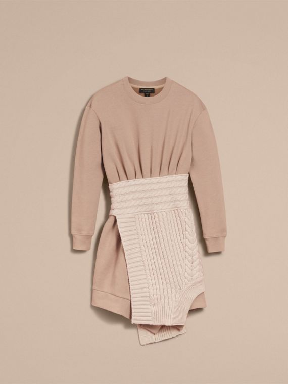 Cashmere Cable Knit Panel Sweatshirt Dress in Natural White - Women | Burberry - cell image 3