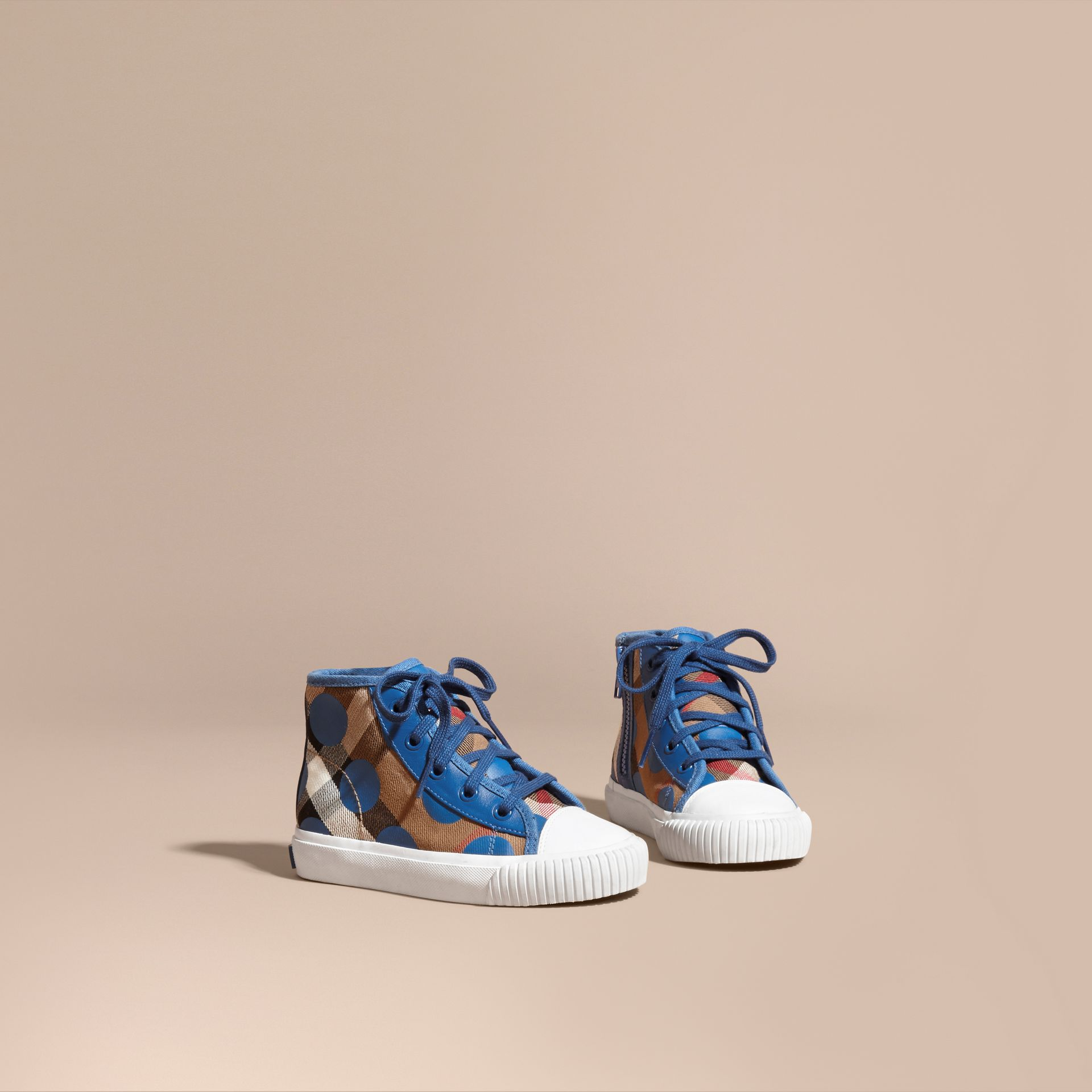 Lupin blue Leather Trim Dot Print Check High-top Trainers Lupin Blue - gallery image 1