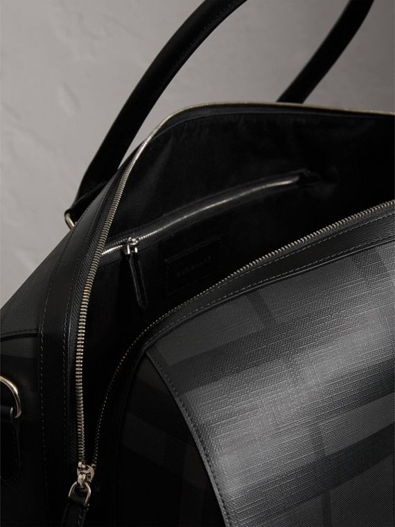 Leather Trim London Check Holdall in Charcoal/black - Men | Burberry - cell image 3